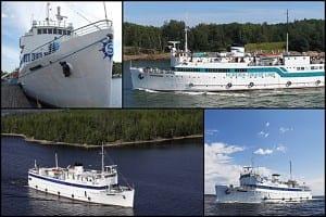 Fotomontasje fra tiden da MS Sunnhordland seilte som cruiseskipet Kristina Brahe og Brahe i Finland (bildekilder: rederiene)
