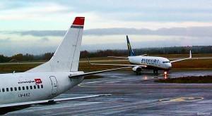 Ryanair og Norwegian på Moss lufthavn Rygge (otoerres)