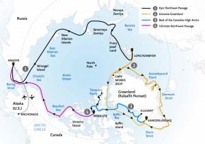 Kort over ekspeditionen(Marco Polo/Quark Expeditions)
