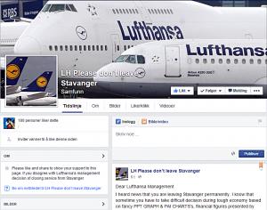 (screenshot: LH Please don't leave Stavanger)