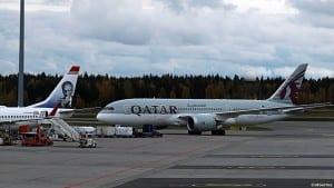 Qatar Airways flyr med Boeing B 787 Dreamliner på Oslo- Gardermoen (©otoerres)