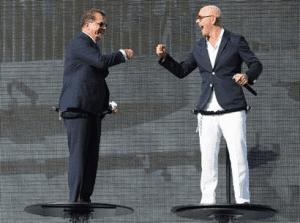 Frank Del Rio, CEO, Norwegian Cruise Line Holdings og Pitbull under dåpsseremonien til Norwegian Escape(NCL)