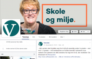 (screenshot: Venstre Facebookside)