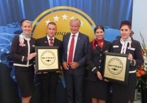 Norwegian CEO Bjørn Kjos and LGW crewmembers accepted the Skytrax awards earlier today at the Farnborough Air Show. (NAS/Skytrax)