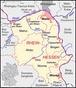 Kart over vinområdet Rheinhessen (kilde: A. Dollenbacher)