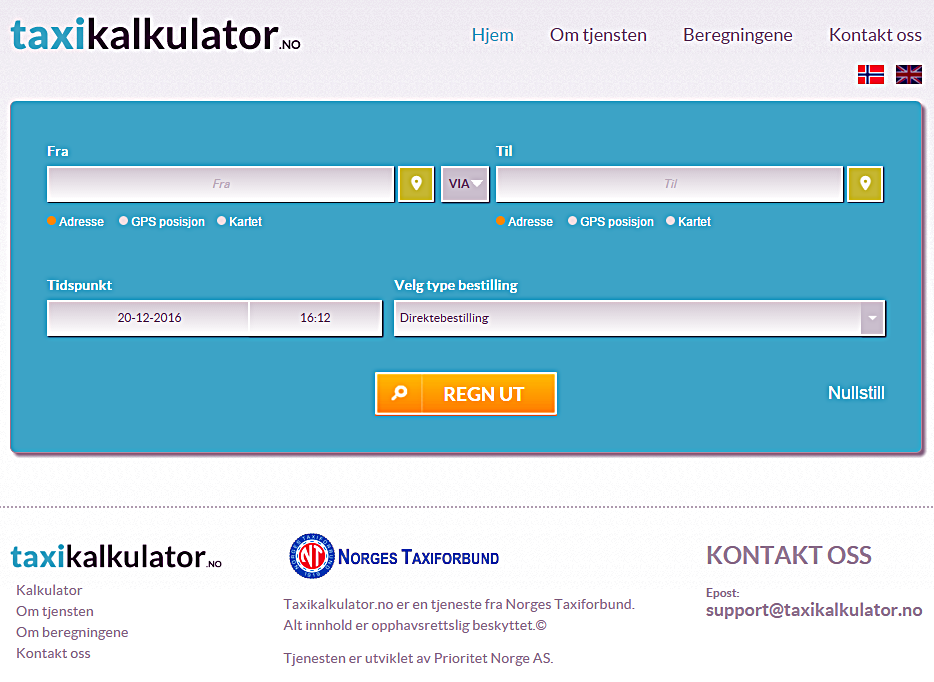 Screenshot - Taxikalkulator.no