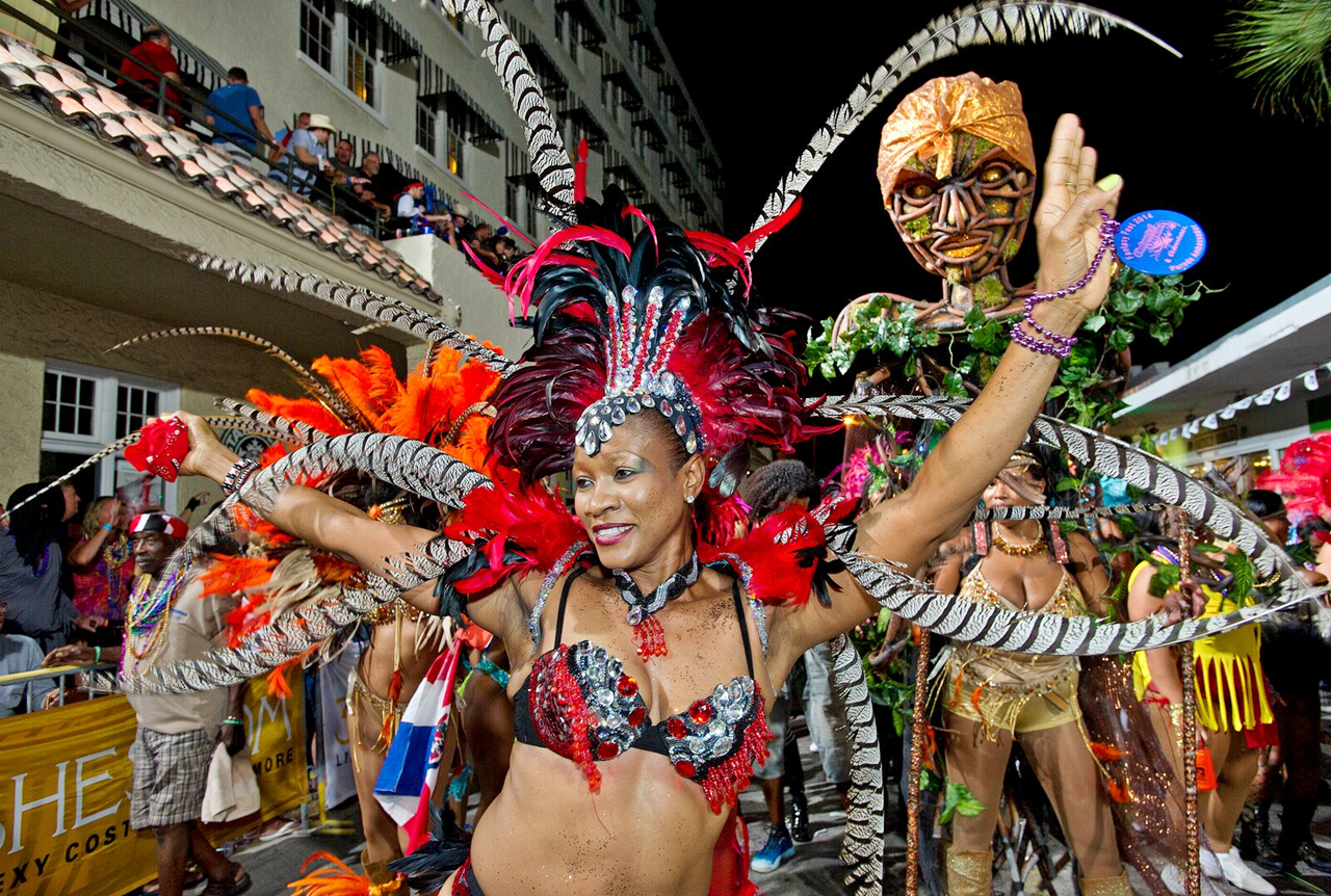 Costumed revelers during fantasy fest halloween parade in key west stock photo