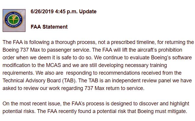 Boeing 737MAX - FAA - 26. juni 2019