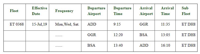 Ethiopian airlines - Skjermbilde - ruteplan