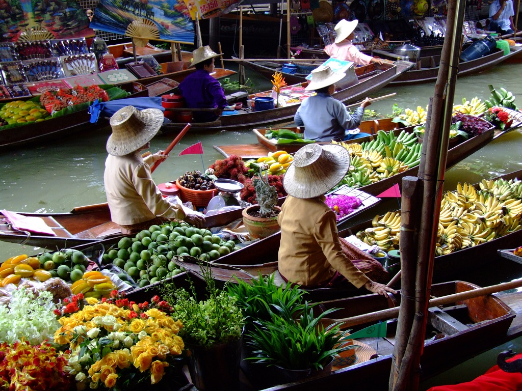 Det flytende markedet i Bangkok