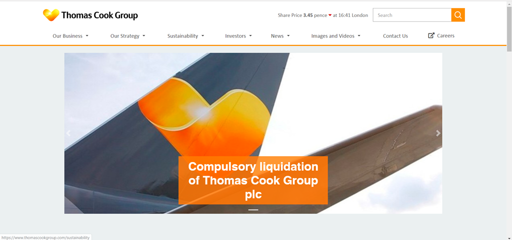 Thomas Cook Group - Konkurs - skjermbilde - 2019