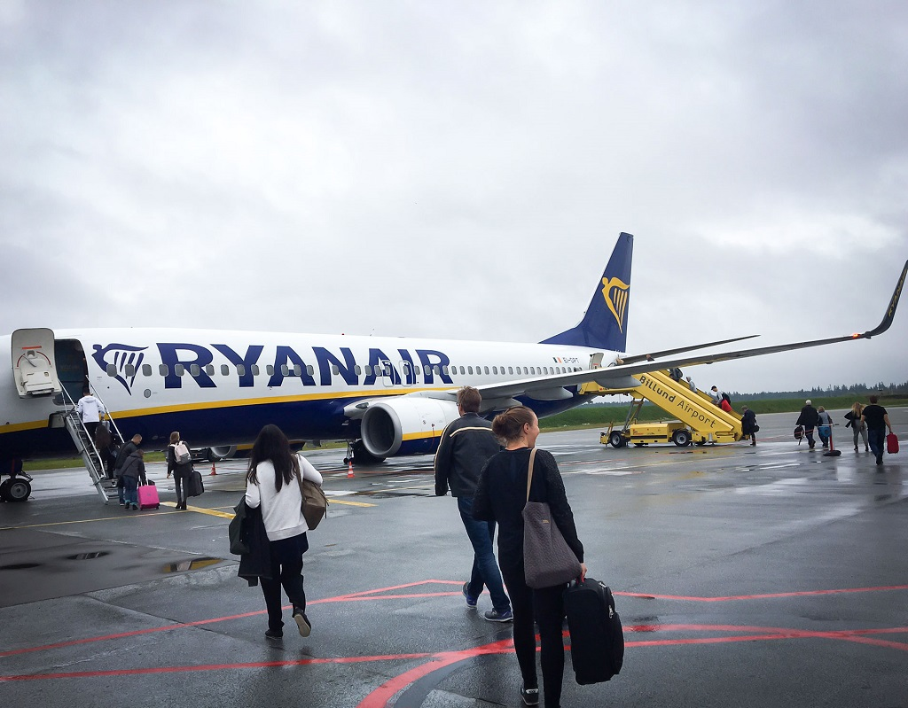 Ryanair - Billund lufthavn - Danmark - ombordstigning