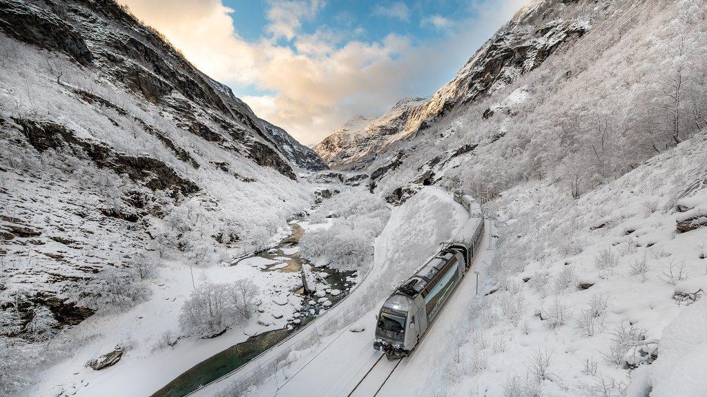 Vinter - Flåm - Flåmsbanen - Tog - Jernbanelinje