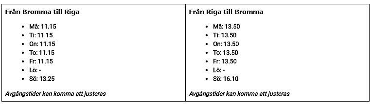 BRA - Rutetabell - Bromma - Riga - 2020