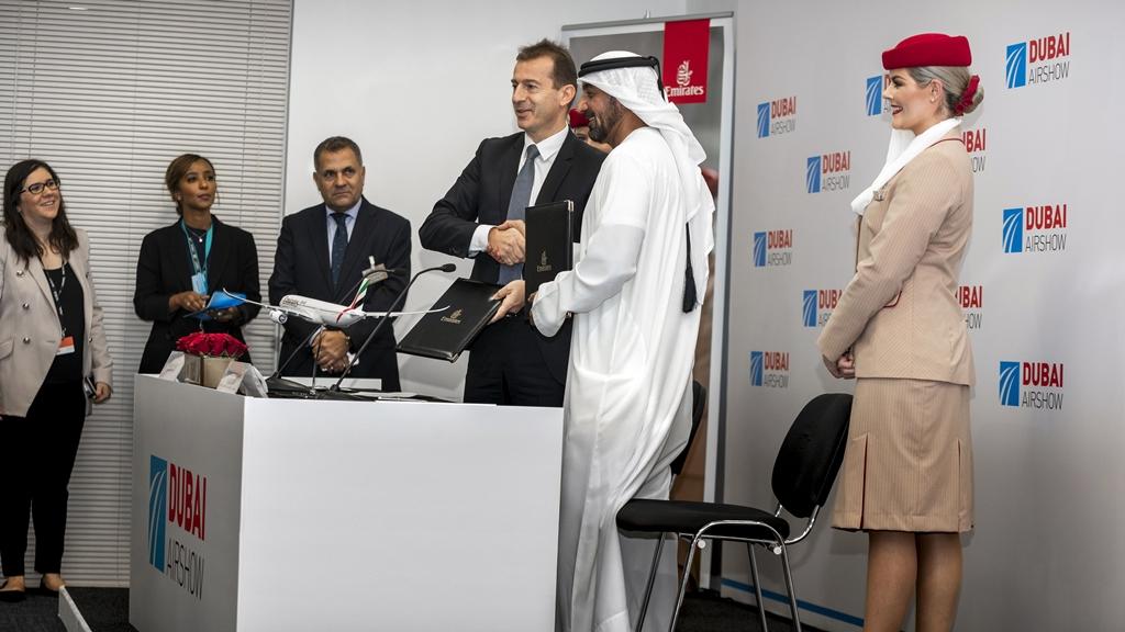 Dubai Air Show 2019 - Emirates - Airbus A 350 XWB - -kontraktsignering