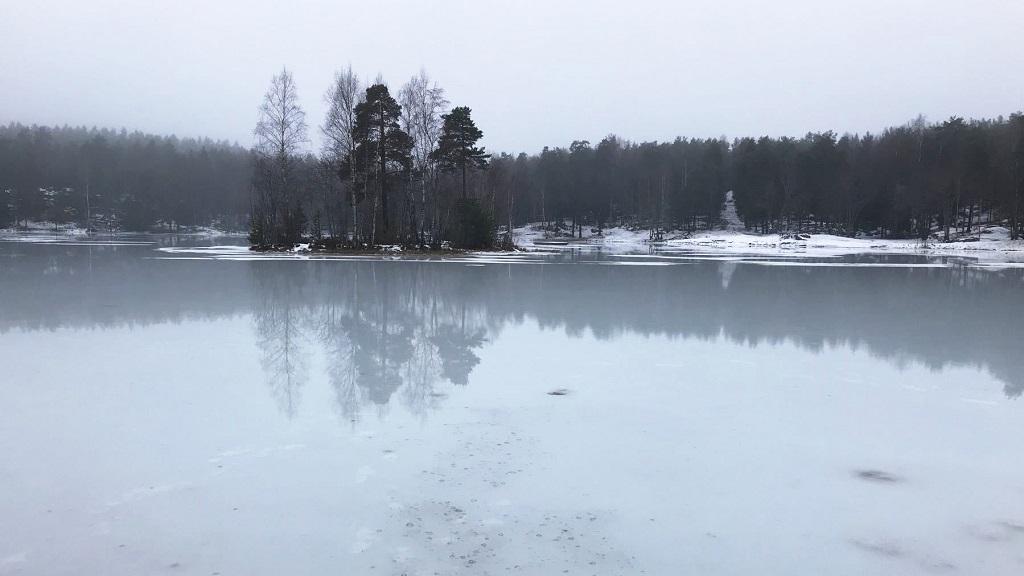 Overvann - is - Vesletjern - Oslo - Norge