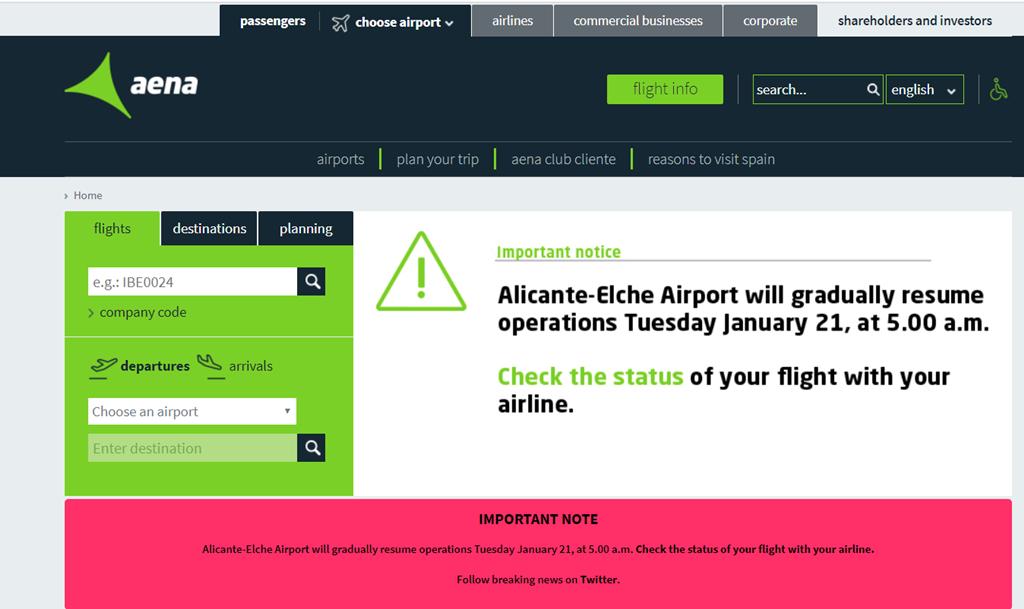 Skjermdump - Alicante Elche Airport - gjenåpning jan -2020