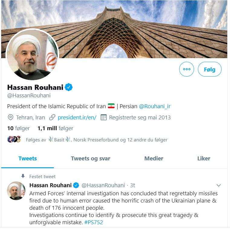 Skjermdump - Hassan Rouhani - President - Iran