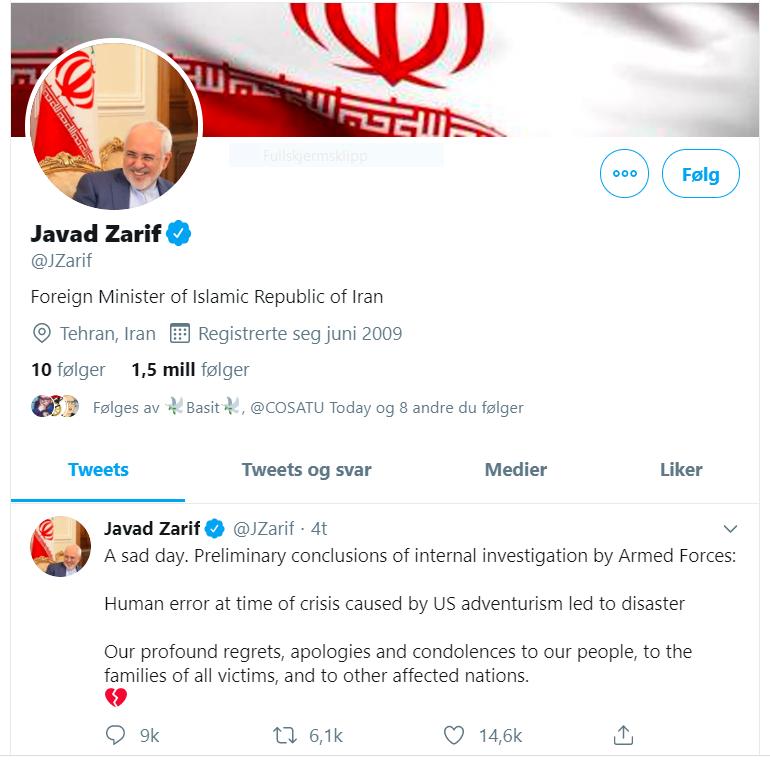 Skjermdump - Javad Zariff - utenriksminister - Iran