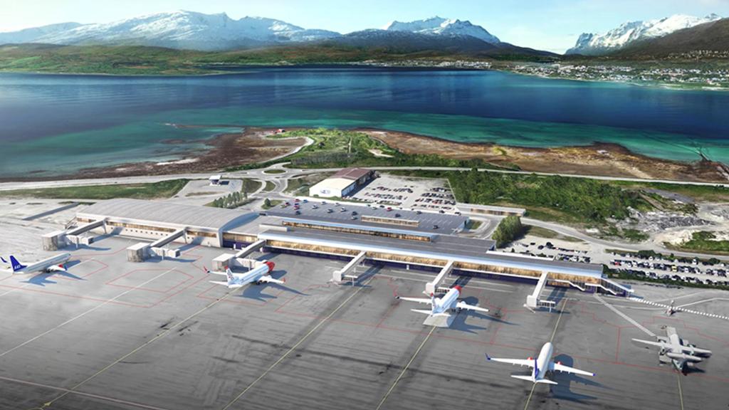 Nye Tromsø lufthavn - flyplassutbygging - Illustrasjon - Avinor