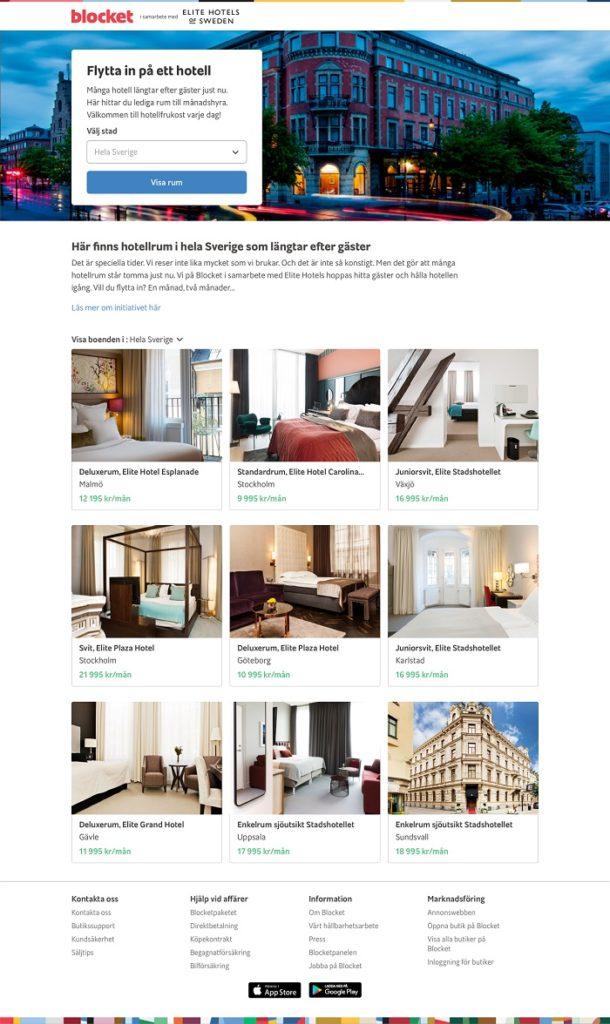 Blockethotell - nettside - sverige - Elite hotels