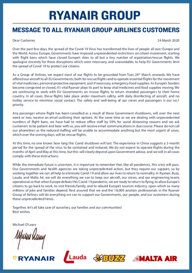 Ryanair - kundebrev - Coronakrisen - Michael O`Leary - 24. mars 2020