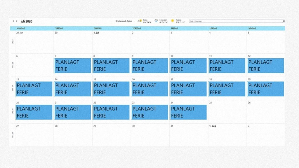 Arbeidstilsynet - Oversikt - kalender - ferieplanlegging