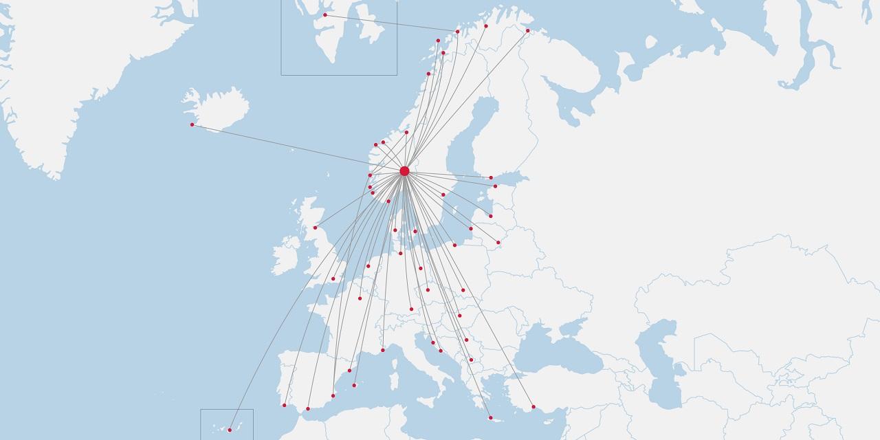 Norwegian - Rutekart - Norge - 1. juli 2020