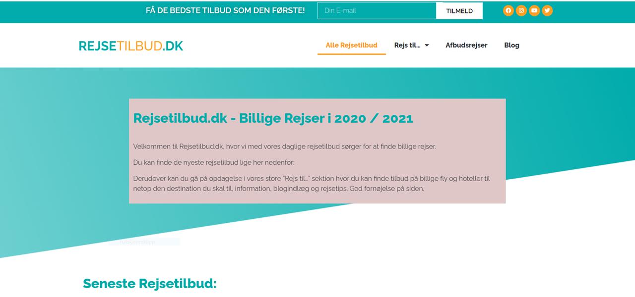Rejsetilbud.dk - skjermdump - Reisenettside - Danmark