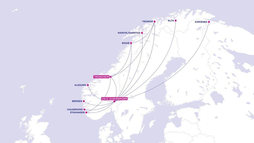 Wizz Air - Rutekart - Norsk innenriks - November/desember 2020