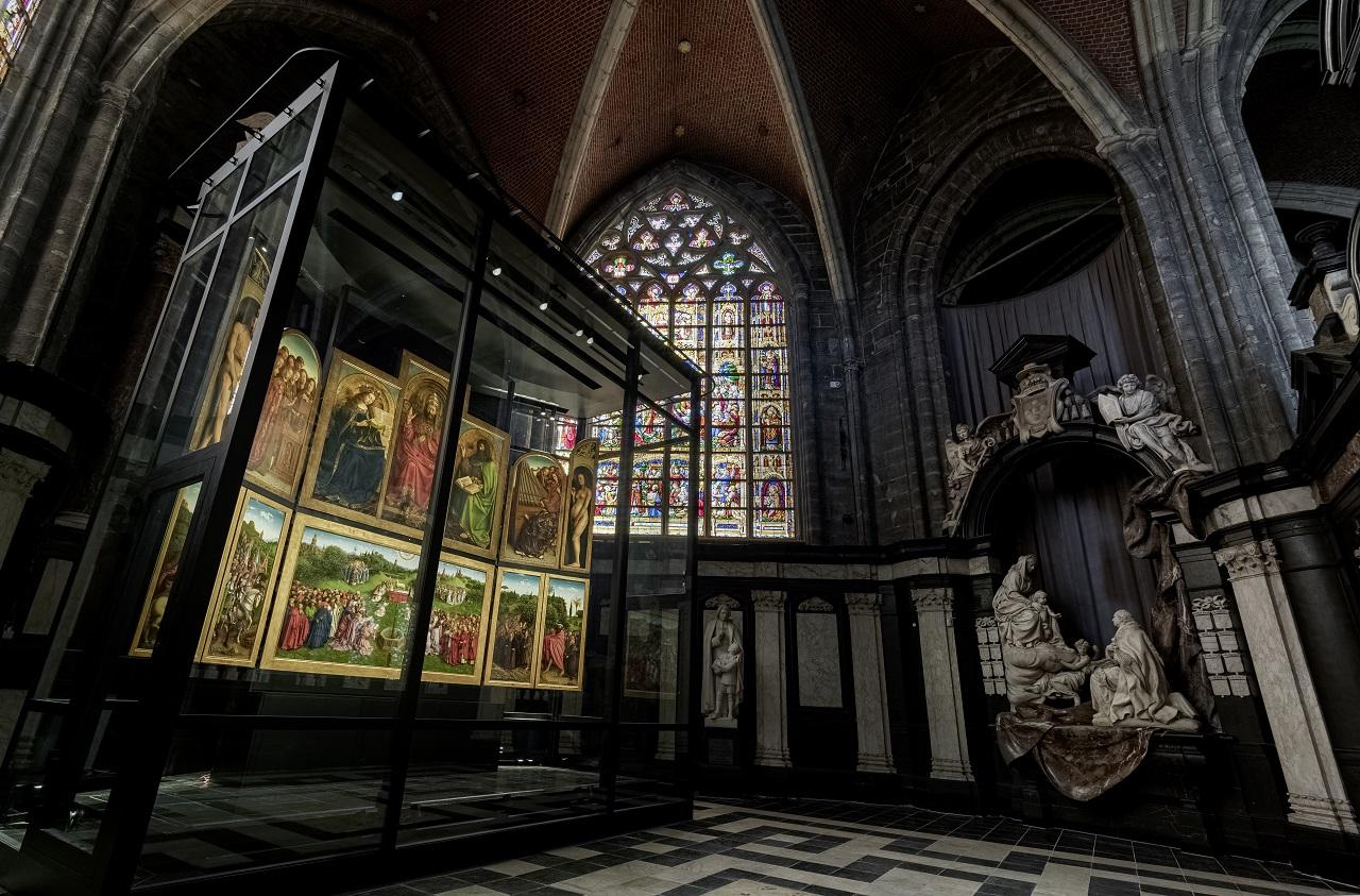 Jan og Hubert Van Eyck -Altertavle - St. Bavos-katedral - Gent - Flandern - Belgia