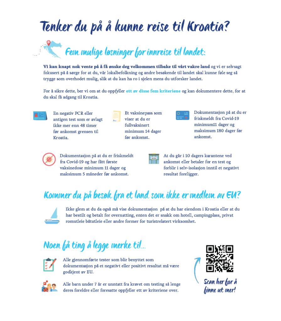 Innreiseregler - innreisekrav - Kroatia - Coronapandemien - 2021