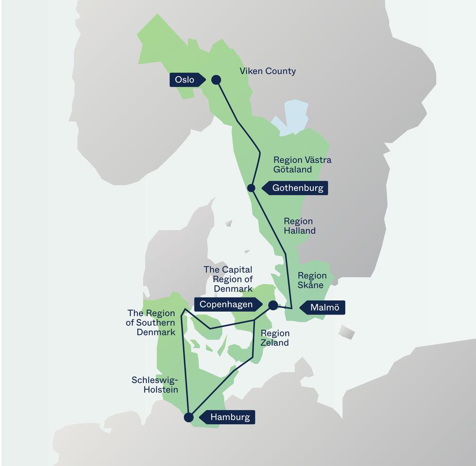 Kart - Regioner - STRING - Nettverk - Norge - danmark -Tyskland - Sverige