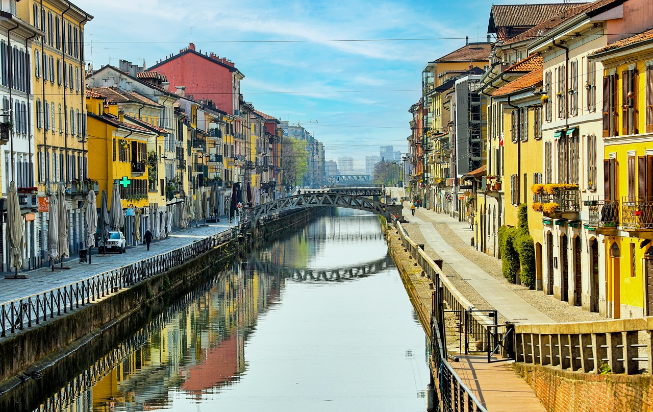 Navigli - kanalsystem - vannveier - Milano - Lombardi - Italia