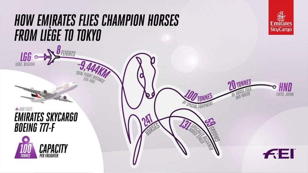 Plansje - Frakt av hester til Tokyo -OL - Emirates SkyCargo