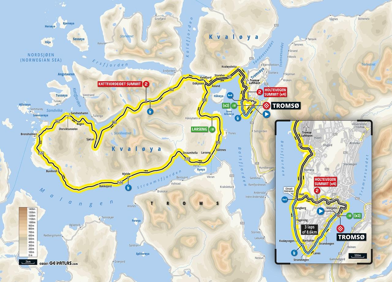 Artic Race 2021 - Rute åpningsdagen - Tomsø - Tromsø